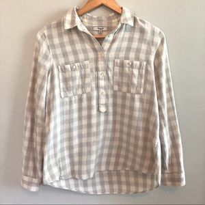 Madewell Cream & Grey Plaid Button Down Blouse
